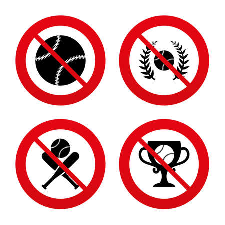 crosswise: No, Ban or Stop signs. Baseball sport icons. Ball with glove and two crosswise bats signs. Winner award cup symbol. Prohibition forbidden red symbols. Vector