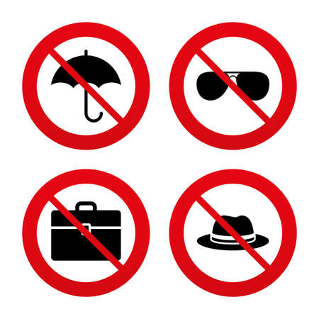 no label: No, Ban or Stop signs. Clothing accessories icons. Umbrella and sunglasses signs. Headdress hat with business case symbols. Prohibition forbidden red symbols. Vector
