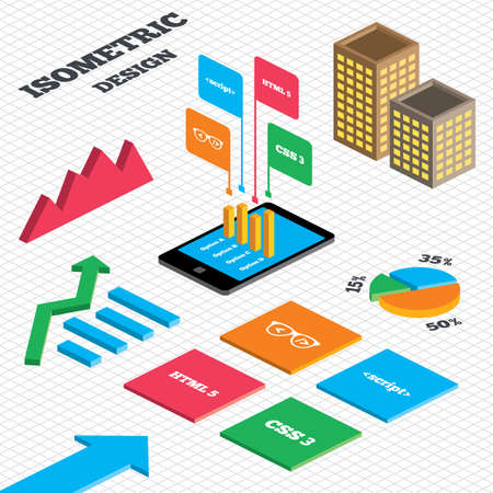 css3: Isometric design. Graph and pie chart. Programmer coder glasses icon. HTML5 markup language and CSS3 cascading style sheets sign symbols. Tall city buildings with windows. Vector