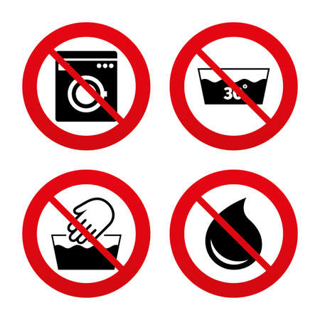washable: No, Ban or Stop signs. Hand wash icon. Machine washable at 30 degrees symbols. Laundry washhouse and water drop signs. Prohibition forbidden red symbols. Vector