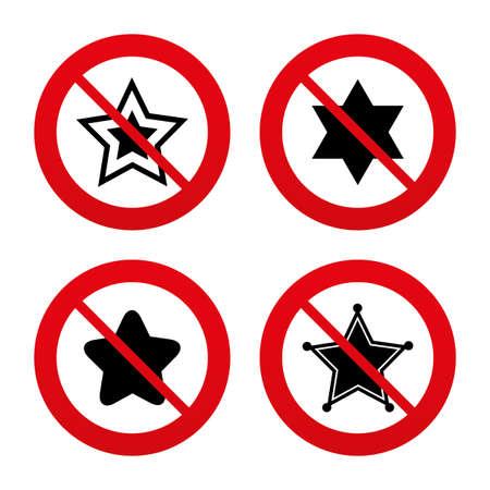yiddish: No, Ban o segnali di stop. Stella di David icone. Sceriffo segno polizia. Simbolo di Israele. Divieto vietato simboli rossi. Vettore