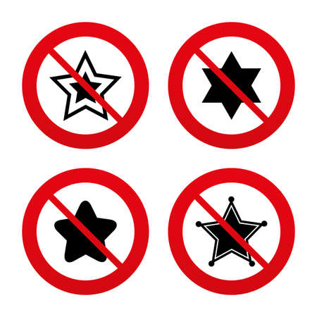 zion: No, Ban or Stop signs. Star of David icons. Sheriff police sign. Symbol of Israel. Prohibition forbidden red symbols. Vector Illustration