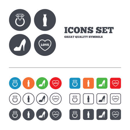 Wedding slim dress icon. Womens shoe and love heart symbols. Wedding or engagement day ring with diamond sign. Web buttons set. Circles and squares templates. Vector