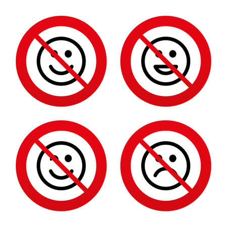 wink: No, Ban or Stop signs. Smile icons. Happy, sad and wink faces symbol. Laughing lol smiley signs. Prohibition forbidden red symbols. Vector Illustration