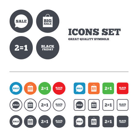 equals: Sale speech bubble icons. Two equals one. Black friday sign. Big sale shopping bag symbol. Web buttons set. Circles and squares templates. Vector