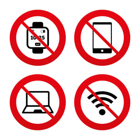 No, Ban or Stop signs. Notebook and smartphone icons. Smart watch symbol. Wi fi and battery energy signs. Wireless Network symbol. Mobile devices. Prohibition forbidden red symbols. Vector Ilustração
