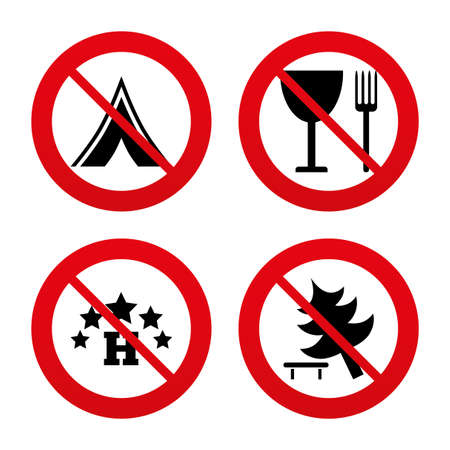 break down: No, Ban or Stop signs. Food, hotel, camping tent and tree icons. Wineglass and fork. Break down tree. Road signs. Prohibition forbidden red symbols. Vector