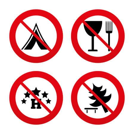 fork road: Signos No, Ban o detenerse. Alimentos, hoteles, tiendas de campa�a y acampar �rboles iconos. Copa y tenedor. Divida �rbol. Las se�ales de tr�fico. Prohibici�n prohibido s�mbolos rojos. Vector Vectores