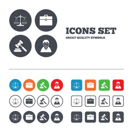 Scales of Justice icon. Client or Lawyer symbol. Auction hammer sign. Law judge gavel. Court of law. Web buttons set. Circles and squares templates. Vector