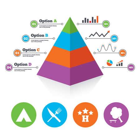 tree diagram: Piramide modello di grafico. Alimentari, albergo, tenda di campeggio e albero icone. Coltello e forchetta. Abbattere albero. Segnali stradali. Lo schema di progresso Infografica. Vettore