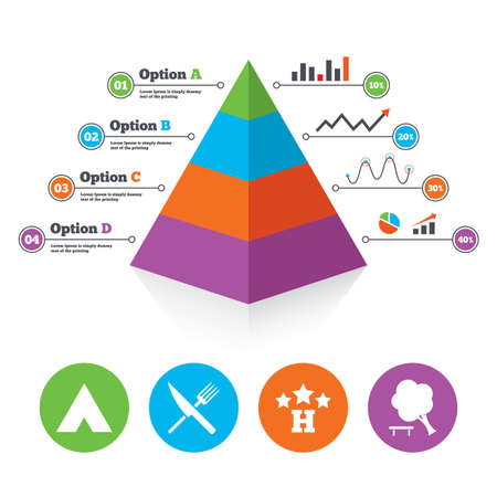 break down: Pyramid chart template. Food, hotel, camping tent and tree icons. Knife and fork. Break down tree. Road signs. Infographic progress diagram. Vector Illustration