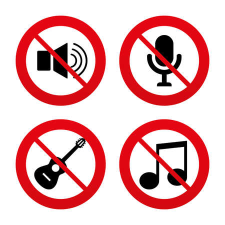 No, Ban or Stop signs. Musical elements icons. Microphone and Sound speaker symbols. Music note and acoustic guitar signs. Prohibition forbidden red symbols. Vector Illustration