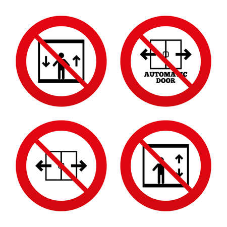 automatic doors: No, Ban or Stop signs. Automatic door icons. Elevator symbols. Auto open. Person symbol with up and down arrows. Prohibition forbidden red symbols. Vector