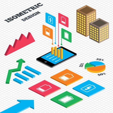 electrochemical: Isometric design. Graph and pie chart. Battery charging icons. Electricity signs symbols. Charge levels: full, half and low. Tall city buildings with windows. Vector
