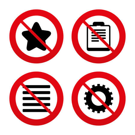 No, Ban or Stop signs. Star favorite and menu list icons. Checklist and cogwheel gear sign symbols. Prohibition forbidden red symbols. Vector Vector