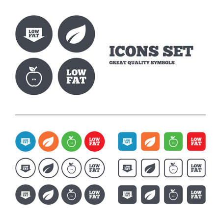 low fat diet: Low fat arrow icons. Diets and vegetarian food signs. Apple with leaf symbol. Web buttons set. Circles and squares templates. Vector