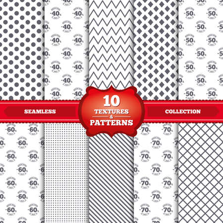 Repeatable patterns and textures. Sale discount icons. Special offer stamp price signs. 40, 50, 60 and 70 percent off reduction symbols. Gray dots, circles, lines on white background. Vector
