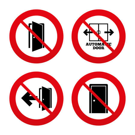 fire exit: No, Ban or Stop signs. Automatic door icon. Emergency exit with arrow symbols. Fire exit signs. Prohibition forbidden red symbols. Vector Illustration