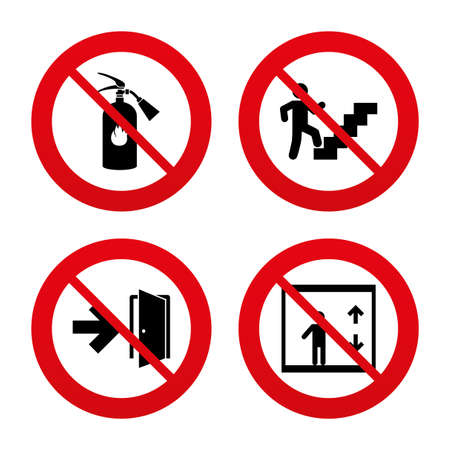 No, Ban or Stop signs. Emergency exit icons. Fire extinguisher sign. Elevator or lift symbol. Fire exit through the stairwell. Prohibition forbidden red symbols. Vector