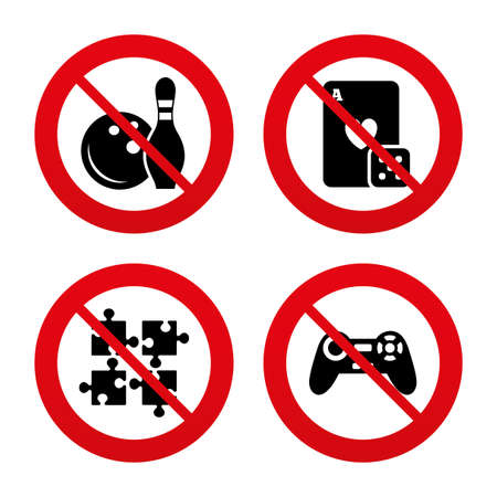 card stop: No, Ban or Stop signs. Bowling and Casino icons. Video game joystick and playing card with puzzles pieces symbols. Entertainment signs. Prohibition forbidden red symbols. Vector Illustration