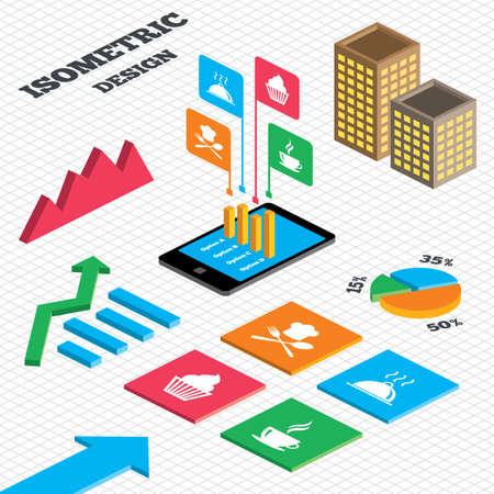 tall hat: Isometric design. Graph and pie chart. Food and drink icons. Muffin cupcake symbol. Fork and spoon with Chef hat sign. Hot coffee cup. Food platter serving. Tall city buildings with windows. Vector Illustration
