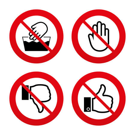 washable: No, Ban or Stop signs. Hand icons. Like and dislike thumb up symbols. Not machine washable sign. Stop no entry. Prohibition forbidden red symbols. Vector