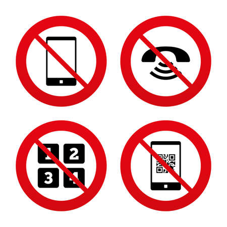 phone ban: No, Ban or Stop signs. Phone icons. Smartphone with Qr code sign. Call center support symbol. Cellphone keyboard symbol. Prohibition forbidden red symbols. Vector Illustration
