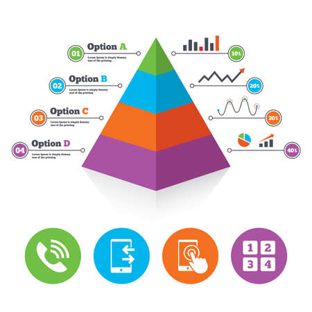 touch screen phone: Pyramid chart template. Phone icons. Touch screen smartphone sign. Call center support symbol. Cellphone keyboard symbol. Incoming and outcoming calls. Infographic progress diagram. Vector