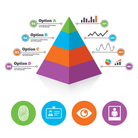 authentication: Pyramid chart template. Identity ID card badge icons. Eye and fingerprint symbols. Authentication signs. Photo frame with human person. Infographic progress diagram. Vector Illustration