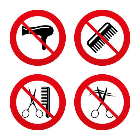 blow drying: No, Ban or Stop signs. Hairdresser icons. Scissors cut hair symbol. Comb hair with hairdryer sign. Prohibition forbidden red symbols. Vector Illustration