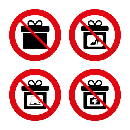 No, Ban or Stop signs. Gift box sign icons. Present with bow symbols. Photo camera sign. Woman shoes. Prohibition forbidden red symbols. Vector Vector