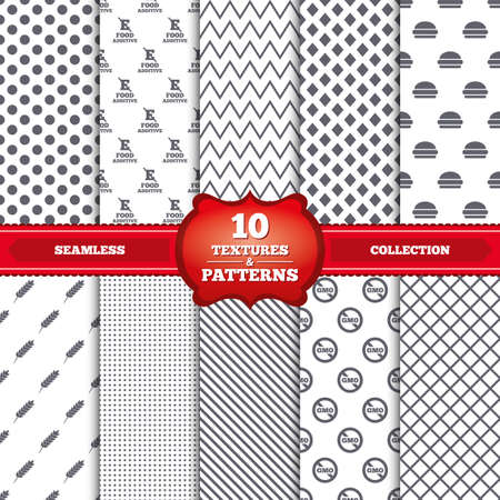 stabilizers: Repeatable patterns and textures. Food additive icon. Hamburger fast food sign. Gluten free and No GMO symbols. Without E acid stabilizers. Gray dots, circles, lines on white background. Vector Illustration