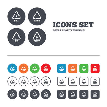polyethylene: PET, Ld-pe and Hd-pe icons. High-density Polyethylene terephthalate sign. Recycling symbol. Web buttons set. Circles and squares templates. Vector
