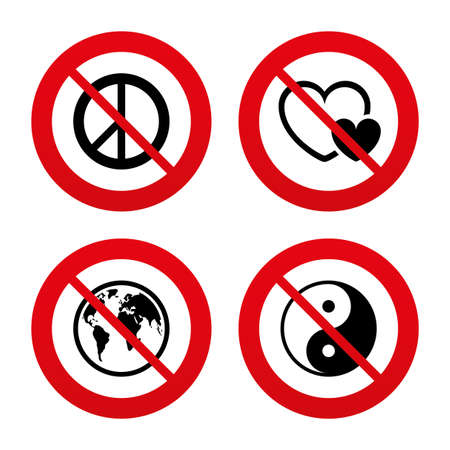 forbidden love: No, Ban or Stop signs. World globe icon. Ying yang sign. Hearts love sign. Peace hope. Harmony and balance symbol. Prohibition forbidden red symbols. Vector