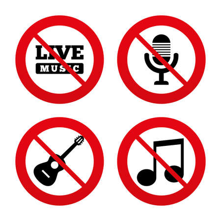 No, Ban or Stop signs. Musical elements icons. Microphone and Live music symbols. Music note and acoustic guitar signs. Prohibition forbidden red symbols. Vector Illustration