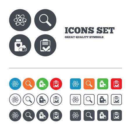 symbol of pharmacy: Medical icons. Atom, magnifier glass, checklist signs. Medical heart pills bottle symbol. Pharmacy medicine drugs. Web buttons set. Circles and squares templates. Vector Illustration