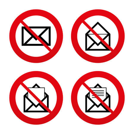No, Ban or Stop signs. Mail envelope icons. Message document symbols. Post office letter signs. Prohibition forbidden red symbols. Vector