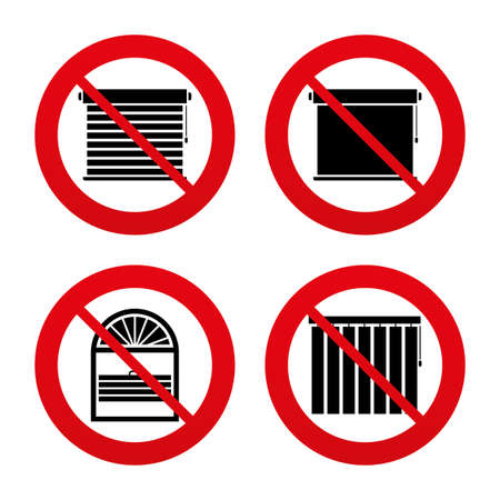 roll curtains: No, Ban or Stop signs. Louvers icons. Plisse, rolls, vertical and horizontal. Window blinds or jalousie symbols. Prohibition forbidden red symbols. Vector