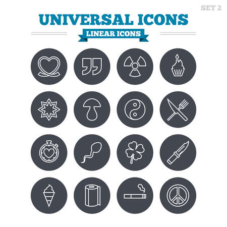 spermatozoa: Universal linear icons set. Quotes, ribbon heart and cake. Clover, mushroom and ice cream. Smoking, knife and fork. Thin outline signs. Flat circle vector