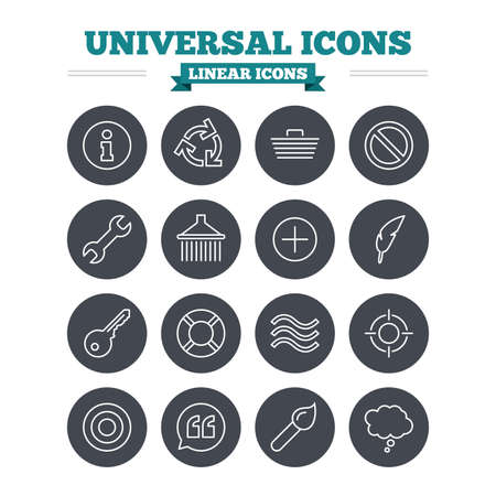 rubbish cart: Universal linear icons set. Information, shopping basket and shower. Repair tool, home key and brush. Comic speech bubble, target aim and quotes. Thin outline signs. Flat circle vector Illustration