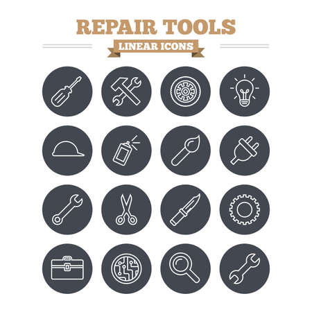 plug hat: Repair tools linear icons set. Hammer with wrench key, wheel and brush. Screwdriver, electric plug and scissors. Circuit board, magnifying glass and construction helmet. Thin outline signs. Flat circle vector