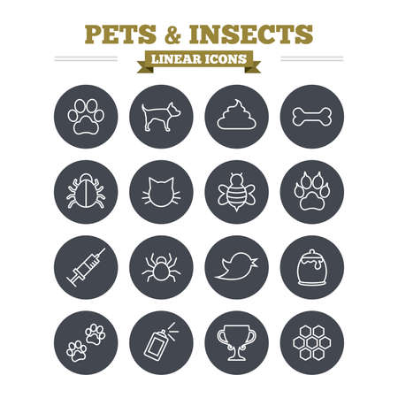 clutches: Pets and Insects linear icons set. Dog paw. Cat paw with clutches. Bone, feces excrement and vaccination. Honey, bee and honey comb. Thin outline signs. Flat circle vector Illustration