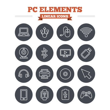 usb port: Computer elements linear icons set. Notebook, usb port and smartphone. Printer, smart watch and game console joystick. Bluetooth, flash stick and cursor pointer. Thin outline signs. Flat circle vector