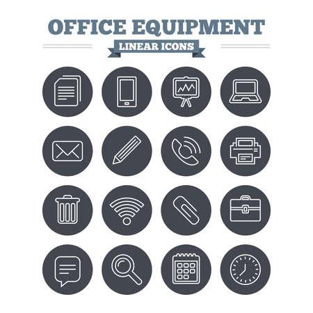 사무실 용 장비 선형 아이콘을 설정합니다. 컴퓨터, 프린터와 스마트 폰입니다. 와이파이, 연설 거품 및 복사 문서를 채팅 할 수 있습니다. 프리젠 테이 일러스트