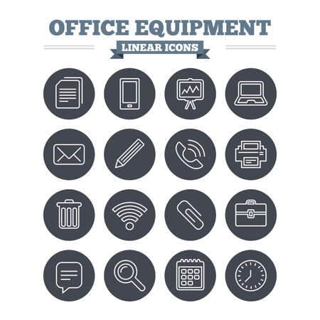Office equipment linear icons set. Computer, printer and smartphone. Wi-fi, chat speech bubble and copy documents. Presentation board, paperclip with pencil and magnifying glass. Thin outline signs. Flat circle vector