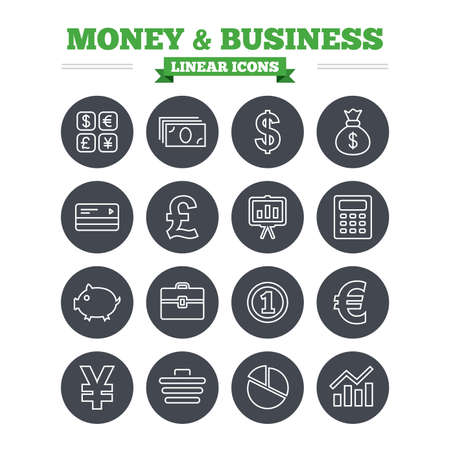 cashless: Money and business linear icons set. Cash and cashless money. Usd, eur, gbp and jpy currency exchange. Presentation, calculator and shopping cart symbols. Thin outline signs. Flat circle vector Illustration