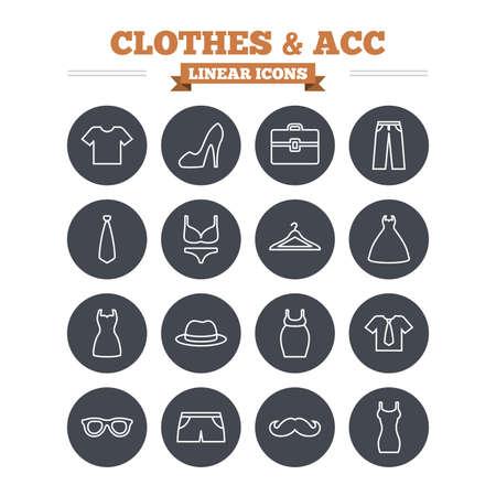 laundry hanger: Ropa y accesorios iconos lineales fijados. Camisa con corbata, pantalones y s�mbolos vestido de la mujer. Sombrero, suspensi�n y gafas signos contorno delgadas. Ropa interior y ropa de maternidad. C�rculo vectorial Flat