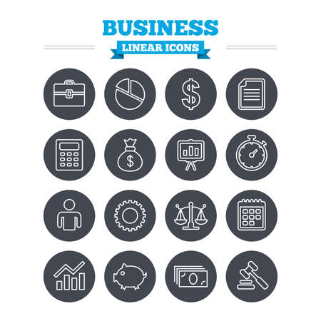 business bags: Business linear icons set. Businessman, briefcase and documents symbols. Presentation pie chart, money bag and justice scales thin outline signs. Dollar USD currency. Auction hammer. Flat circle vector Illustration