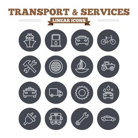 servicios publicos: Iconos Transporte y servicios lineales fijados. Barco, coche y autob�s p�blico, taxi. Martillo de reparaci�n y dominante de la llave, la rueda y la rueda dentada. Barco de vela y bicicleta. Signos de esquema delgadas. C�rculo vectorial Flat