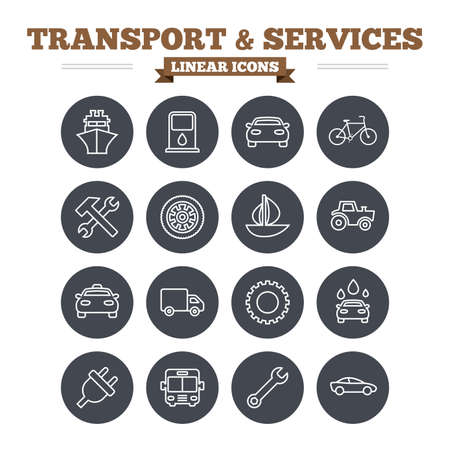 public services: Transport and services linear icons set. Ship, car and public bus, taxi. Repair hammer and wrench key, wheel and cogwheel. Sailboat and bicycle. Thin outline signs. Flat circle vector